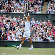 LONDON, ENGLAND - JULY 14: Roger Federer of Switzerland celebrates victory against Thomas Berdych of the Czech Republic in the Gentlemen's Singles Semi-final of the Wimbledon Lawn Tennis Championships at the All England Lawn Tennis and Croquet Club at Wimbledon on July 14, 2017 in London, England. (Photo by Tim Clayton/Corbis via Getty Images)