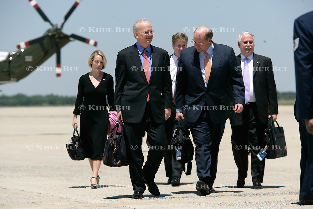 (L-R)  Deputy Press Secretary Dana Perino, Deputy Chief of Staff Karl Rove, Personal aide to the President Jared Weinstein, Deputy Chief of Staff Joe Hagin, and unidentified walk towards Air Force One Wednesday, May 24, 2006, at Andrews Air Force Base, Maryland (MD)...Photo by Khue Bui