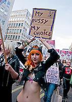 Slutwalk marches through London demanding that women not be blamed for rape 2012