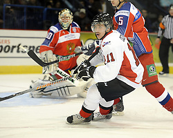 Casey Cizikas helped Team OHL to a 2-1 shootout win over Russia in Game 4 of the SUBWAY Super Series in Sudbury, ON on Monday Nov. 15, 2010.  Photo by Aaron Bell/OHL Images
