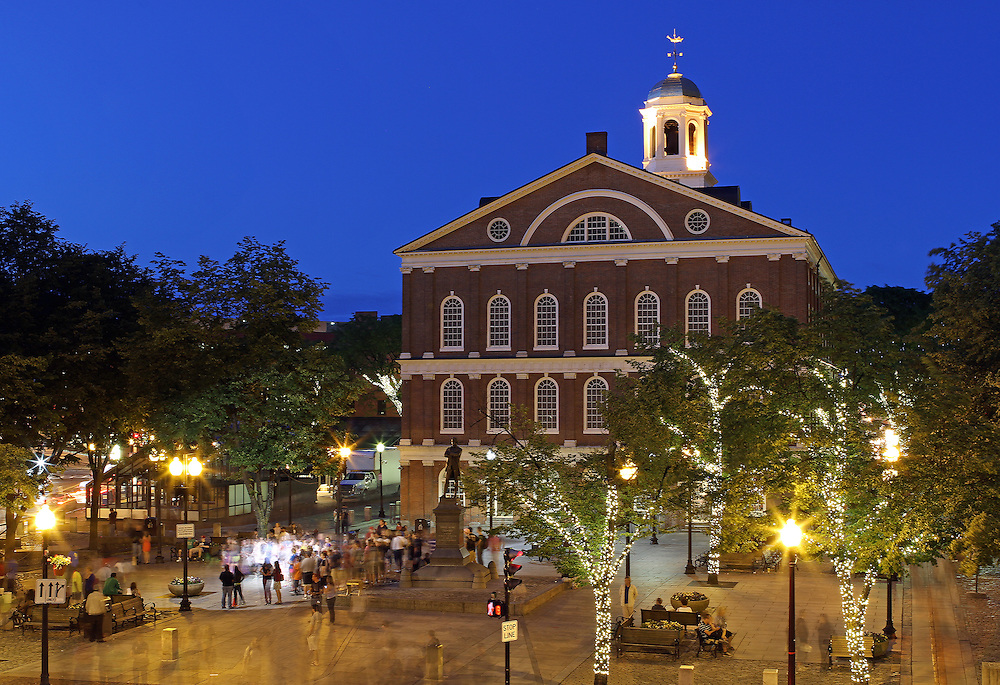 Boston Faneuil Hall marketplace is popular with locals and tourists alike. There are outdoor artists, food stalls, restaurants and shopping areas around Faneuil Hall and Quincy Market. After sunset twilight paints the sky in beautiful blue hues while the city lights around Faneuil Hall and Quincy Market become alive.<br /> <br /> Photos of Boston landmarks are available as museum quality photography prints, canvas prints, acrylic prints, wood prints or metal prints. Fine art prints may be framed and matted to the individual liking and decorating needs: <br /> <br /> http://juergen-roth.pixels.com/featured/boston-faneuil-hall-juergen-roth.html<br /> <br /> Good light and happy photo making!<br /> <br /> My best,<br /> <br /> Juergen<br /> Prints: http://www.rothgalleries.com<br /> Photo Blog: http://whereintheworldisjuergen.blogspot.com<br /> Instagram: https://www.instagram.com/rothgalleries<br /> Twitter: https://twitter.com/naturefineart<br /> Facebook: https://www.facebook.com/naturefineart