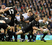Twickenham, GREAT BRITAIN, Jimmy COWAN, passes the ball from the back of the scrum, during the Investic Challenge Series, England vs New Zealand, Autumn International at Twickenham Stadium, Surrey on Saturday  21/11/2009   [Photo, Peter Spurrier/Intersport-images]