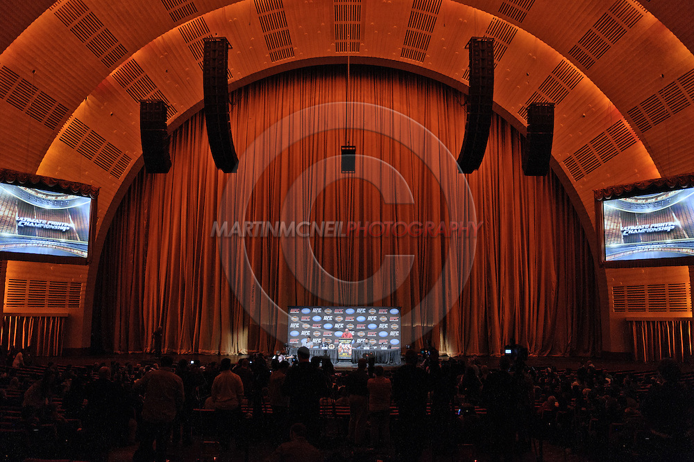 "NEW YORK, NEW YORK, MARCH 24, 2010: A wide view of the pre-fight press conference for ""UFC 111: St. Pierre vs. Hardy"" inside Radio City Music Hall in New York City"