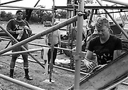 Scaffolding crew, Glastonbury, Somerset, 1989