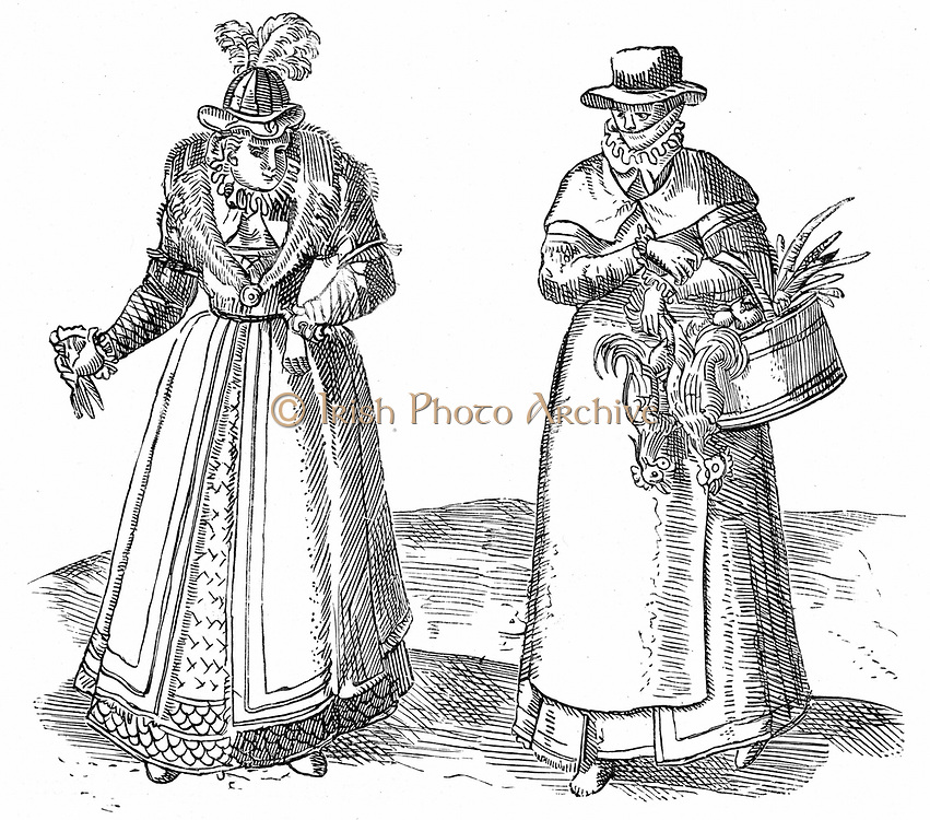 English countrywoman carrying basket of chickens and wearing apron over plain clothes (right). On left is a lady of the Court with fur-trimmed coat over embroidered dress.  Sumptuary laws dictated what each caste of society could wear.  Engraving from Braun 'Civitates Orbis Terrarum' 1572