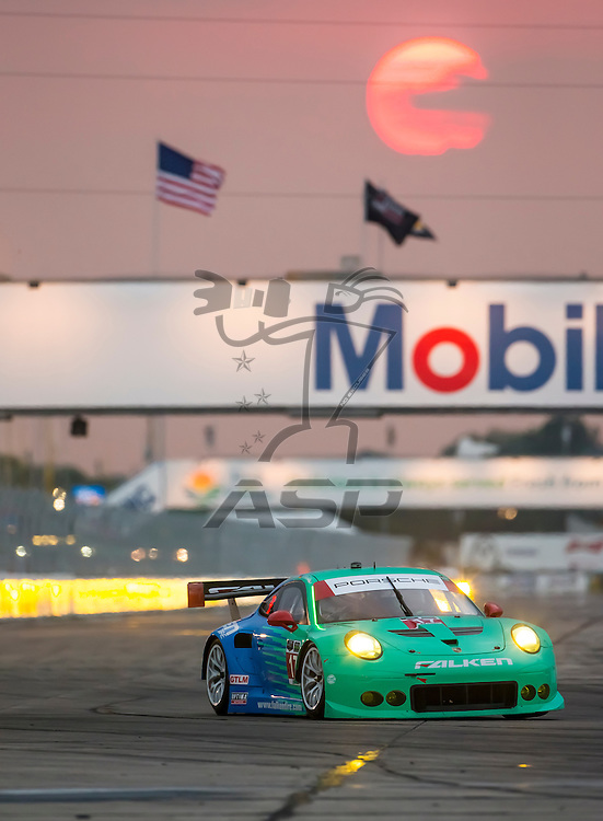 Sebring, FL - Mar 19, 2015:  The Team Falken Tire races through the turns at 12 Hours of Sebring at Sebring Raceway in Sebring, FL.