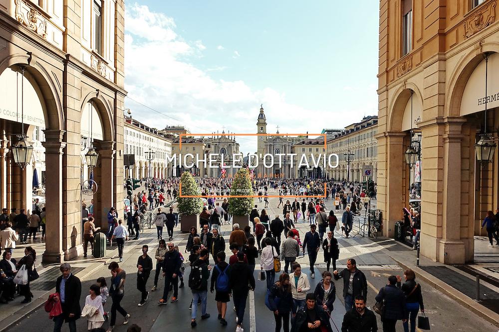 l'area pedonale di piazza San Carlo, Torino.
