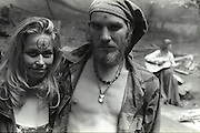 Peace sign and a crystal, Indiana Rainbow Gathering. 1999  rainbow gathering,
