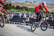 #160 during practice at the 2018 UCI BMX World Championships in Baku, Azerbaijan.