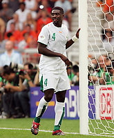Photo: Chris Ratcliffe.<br /> Holland v Ivory Coast. Group C, FIFA World Cup 2006. 16/06/2006.<br /> Kolo Toure of Ivory Coast are gutted as they go out.
