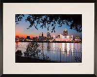 Framed photograph of Cincinnati Skyline at sunset. Framed sizes vary, select at purchase screen