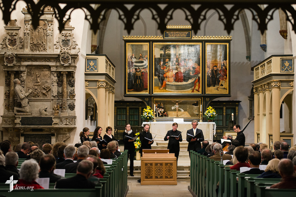 Guests listen to a choral concert at the Town and Parish Church of St. Mary's following the dedication of The International Lutheran Center at the Old Latin School on Sunday, May 3, 2015, in Wittenberg, Germany. LCMS Communications/Erik M. Lunsford