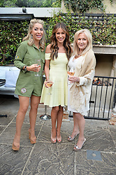 Left to right, JULIET MAYHEW, JAYNE BLIGHT and LIZ BREWER  at a party to celebrate 'A Year In The Garden' celebrating the first year of The Ivy Chelsea Garden, 197 King's Road, London on 16th May 2016.