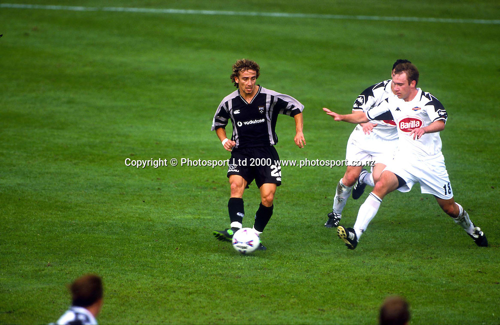 Aaron Silvia in action for the Football Kingz against Adelaide in the Australian National Soccer League 99/00. Photo: Andrew Cornaga/Photosport.co.nz