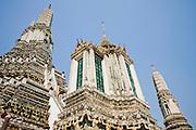 "02 MARCH 2008 -- BANGKOK, THAILAND:  The central ""prang"" (a Khmer style tower) at Wat Arun (Temple of the Dawn) in Bangkok, Thailand.    Photo by Jack Kurtz"
