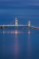 Lights on Mackinac Bridge at twilight, seen from Saint Ignace,  Upper Peninsula Michigan.
