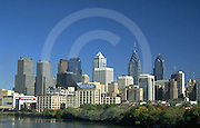 Philadelphia Skyline before Comcast Skyscraper, 1995, Schulykill River, Daytime