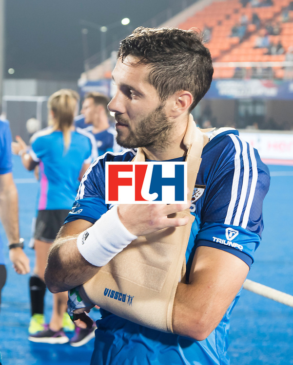 Odisha Men's Hockey World League Final Bhubaneswar 2017<br /> Match id:14<br /> England v Argentina , Quater Final<br /> Foto: Injured Agustin Mazzilli (Arg) , shoulder,  <br /> WSP COPYRIGHT KOEN SUYK