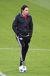 08.12.2015, BayArena, Leverkusen, GER, UEFA CL, Bayer 04 Leverkusen vs FC Barcelona, Gruppe E, Pressekonfernz und Training, im Bild Roger Schmidt (Trainer, Bayer 04 Leverkusen) // during the press conferenve an training prior to the UEFA Champions League group E match between Bayer 04 Leverkusen and FC Barcelona at the BayArena in Leverkusen, Germany on 2015/12/08. EXPA Pictures © 2015, PhotoCredit: EXPA/ Eibner-Pressefoto/ Deutzmann<br /> <br /> *****ATTENTION - OUT of GER*****