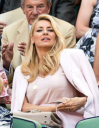 © Licensed to London News Pictures. 03/07/2018. London, UK.  Tess Daly watches centre court tennis in the royal box on the second day of the Wimbledon Tennis Championships 2018. Photo credit: Ray Tang/LNP