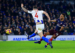 Arsenal's Pierre-Emerick Aubameyang is dispossessed by Brighton's Shane Duffy