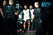 HOUSTON, TX - OCTOBER 3:  Adriano Martins prepares to enter the Octagon before his fight against Islam Makhachev during UFC 192 at the Toyota Center on October 3, 2015 in Houston, Texas. (Photo by Cooper Neill/Zuffa LLC/Zuffa LLC via Getty Images) *** Local Caption *** Adriano Martins