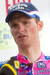 Second placed Grega Bole (SLO) of Lampre at flower ceremony after the 2nd Stage (189,6 km) at 18th Tour de Slovenie 2011, on June 17, 2011, in Nova Gorica, Slovenia. (Photo by Vid Ponikvar / Sportida)