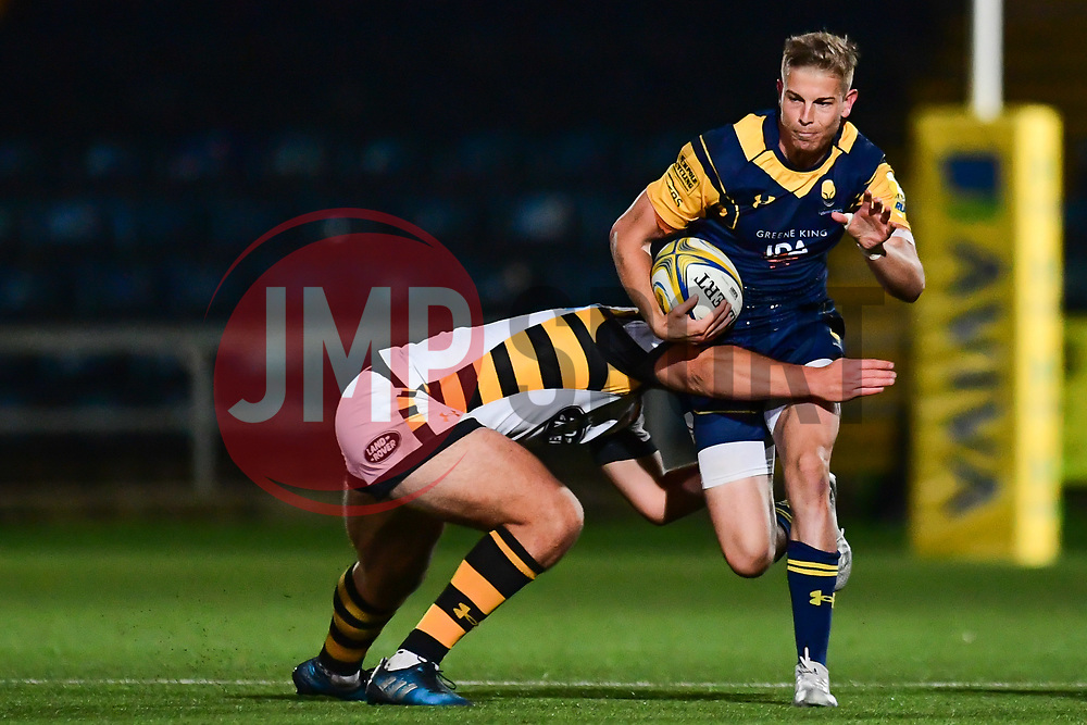 Michael Dowsett of Worcester Cavaliers is tackled by Connor Eastgate of Wasps - Mandatory by-line: Craig Thomas/JMP - 23/10/2017 - RUGBY - Sixways Stadium - Worcester, England - Worcester Cavaliers v Wasps - Aviva A League