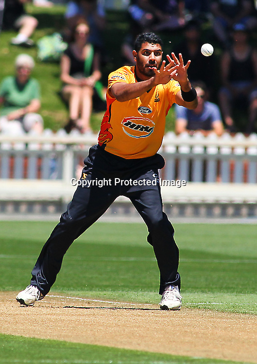 Jeetan Patel in action during their Twenty20 Cricket match - HRV Cup, Wellington Firebirds v Central Stags, 27 December 2011, Hawkins Basin Reserve, Wellington. . PHOTO: Grant Down / photosport.co.nz
