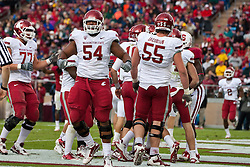 October 23, 2010; Stanford, CA, USA;  Washington State Cougars offensive linesman Zack Williams (54) celebrates after a touchdown against the Stanford Cardinal during the second quarter at Stanford Stadium.