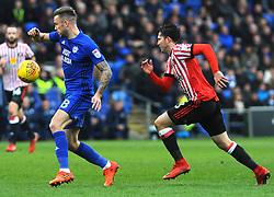Bryan Oviedo of Sunderland chases down Joe Ralls of Cardiff City- Mandatory by-line: Nizaam Jones/JMP- 13/01/2018 -  FOOTBALL - Cardiff City Stadium - Cardiff, Wales -  Cardiff City v Sunderland - Sky Bet Championship