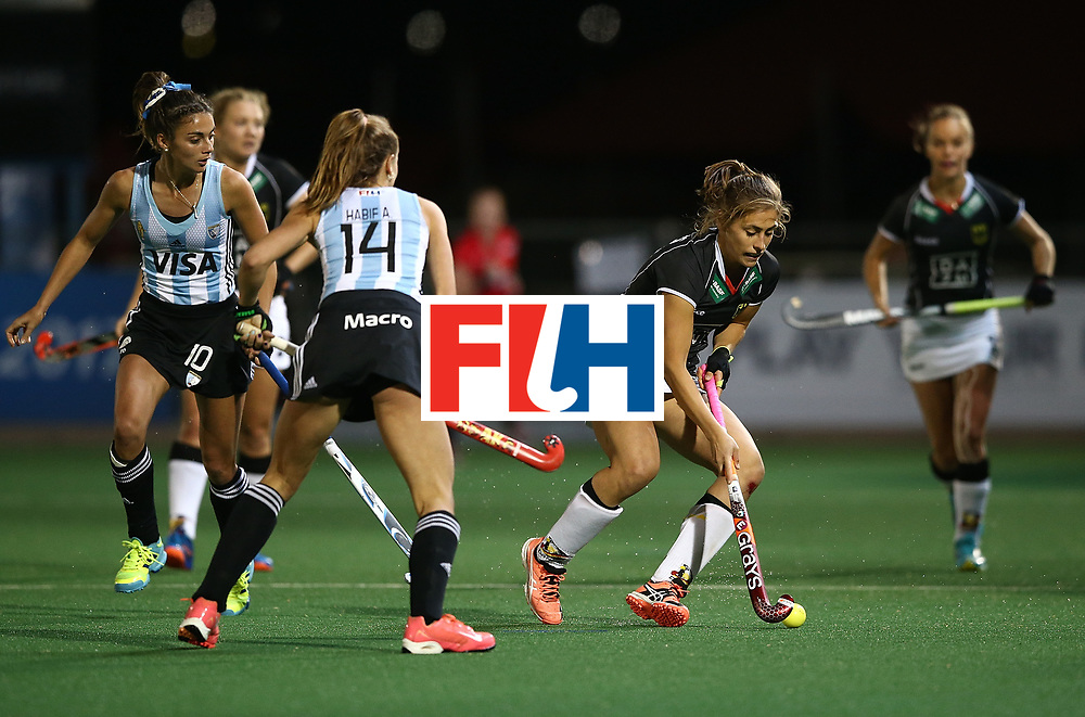 JOHANNESBURG, SOUTH AFRICA - JULY 20:  Marie Mavers of Germany controls the ball from Agustina Habif of Argentina during day 7 of the FIH Hockey World League Women's Semi Finals semi final match between Germany and Argentina at Wits University on July 20, 2017 in Johannesburg, South Africa.  (Photo by Jan Kruger/Getty Images for FIH)