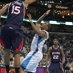 05 November 2008: New Orleans Hornets guard Chris Paul (3) has his shot blocked by Atlanta Hawks center Al Horford (15)  during a 87-79 victory by the Atlanta Hawks over the New Orleans Hornets at the New Orleans Arena in New Orleans, LA..