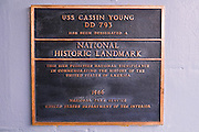 Plaque on the USS Cassin Young (National Historic Landmark), Charlestown Navy Yard, Boston, Massachusetts