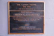 Plaque on the USS Cassin Young (National Historic Landmark), Charlestown Navy Yard, Boston, Massachusetts