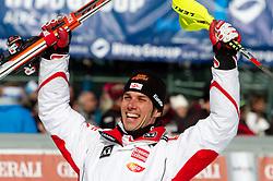Winner Mario Matt of Austria celebrates during 2nd Run of Men's Slalom of FIS Ski World Cup Alpine Kranjska Gora, on March 6, 2011 in Vitranc/Podkoren, Kranjska Gora, Slovenia.  (Photo By Vid Ponikvar / Sportida.com)