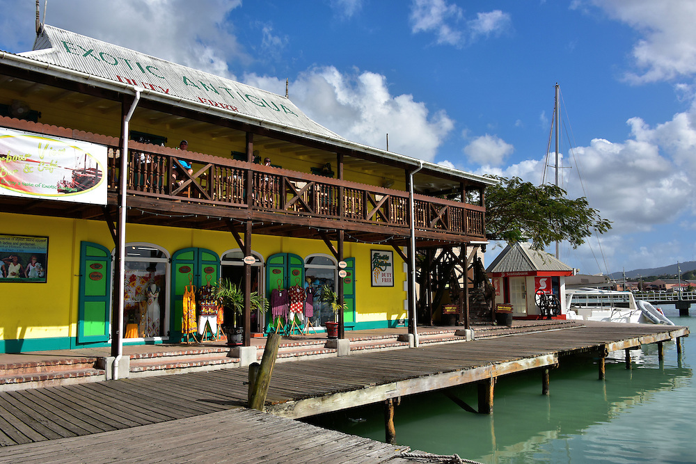 Boardwalk Leading to Redcliffe Quay in St. John&rsquo;s, Antigua<br />