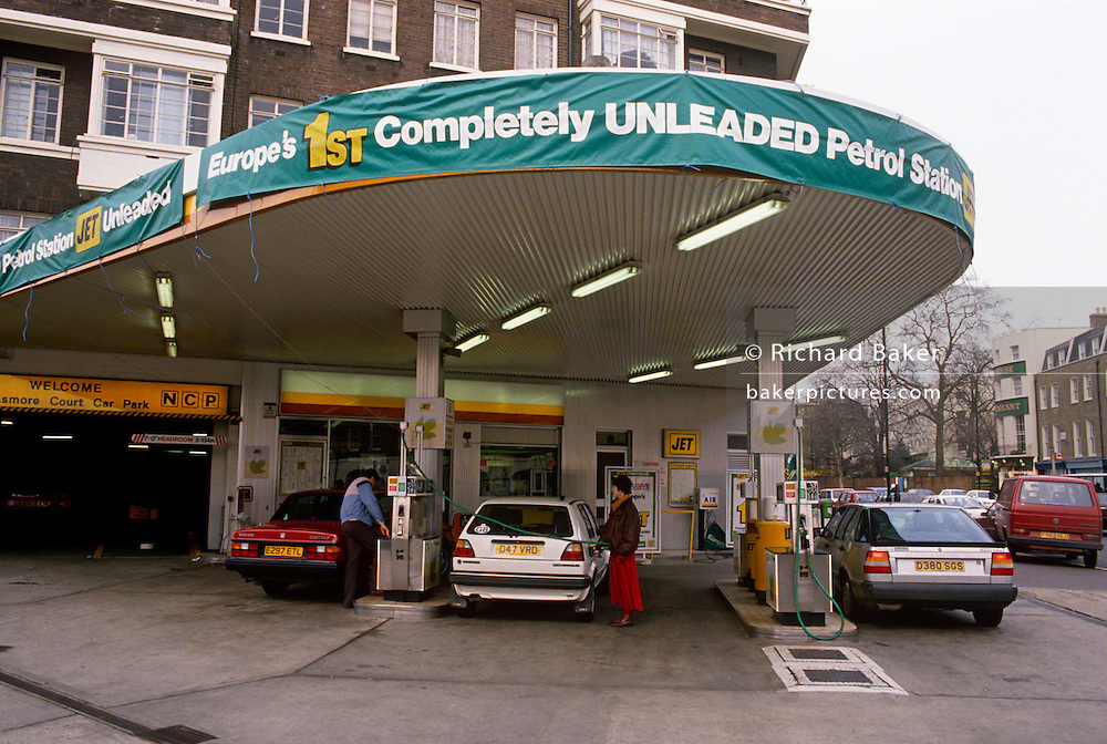 An exterior of Europe's very first completely Unleaded petrol station, seen in 1989 on Park Road, NW8 London. Customers' cars able to use this newly-introduced fuel such as this Volvo, Volkswagen Golf and Saab could use this station to use the commercially-available cleaner fuel.