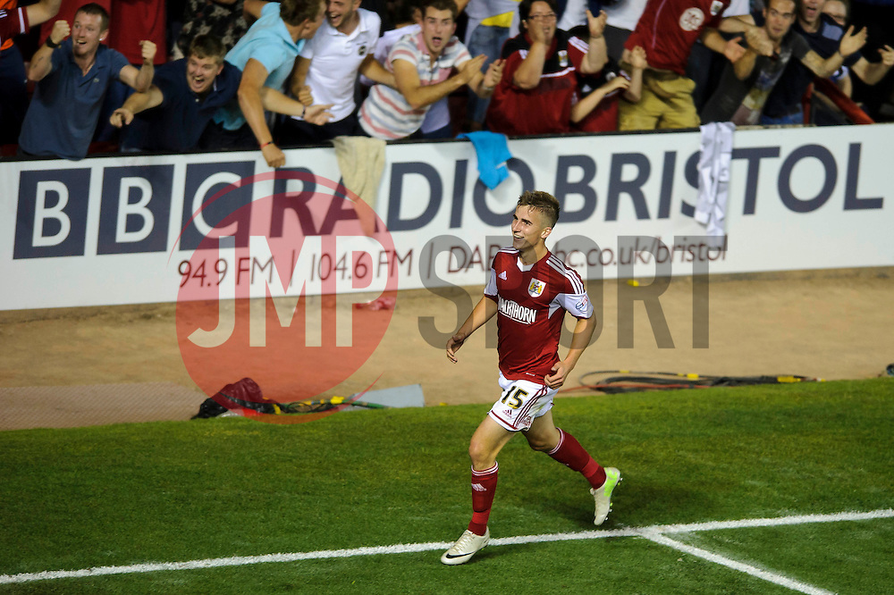 Bristol City Midfielder Joe Bryan (ENG) celebrates scoring a goal to give his side a 2-1 lead during the second half of the match - Photo mandatory by-line: Rogan Thomson/JMP - Tel: 07966 386802 - 04/09/2013 - SPORT - FOOTBALL - Ashton Gate, Bristol - Bristol City v Bristol Rovers - Johnstone's Paint Trophy - First Round - Bristol Derby