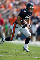 Virginia wide receiver Staton Jobe (22) rushes up field after a pass reception.  The Virginia Cavaliers defeated the Duke Blue Devils 23-14 at Scott Stadium in Charlottesville, VA on September 8, 2007  With the loss, Duke extended their longest-in-the-nation losing streak to 22 games.