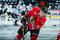 KELOWNA, CANADA - APRIL 8: Jake Gricius #14 of the Portland Winterhawks warms up against the Kelowna Rockets on April 8, 2017 at Prospera Place in Kelowna, British Columbia, Canada.  (Photo by Marissa Baecker/Shoot the Breeze)  *** Local Caption ***