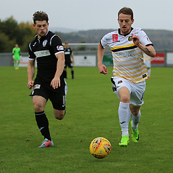 Tom Walsh takes Cammy Smith down the wing during the Dumbarton v St Mirren Scottish Championship 14 October 2017<br /> <br /> <br /> <br /> <br /> <br /> (c) Andy Scott | SportPix.org.uk