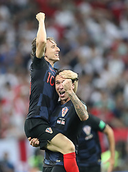 July 11, 2018 - Moscow, Russia - Luka Modric (L) of Croatia celebrates victory after the 2018 FIFA World Cup semi-final match between England and Croatia in Moscow, Russia, July 11, 2018. Croatia won 2-1 and advanced to the final. (Credit Image: © Cao Can/Xinhua via ZUMA Wire)