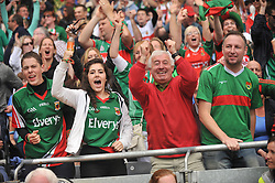 Joy &amp; relief for Mayo fans when Andy Moran scored the equaliser during the All Ireland Semi-final on sunday last.<br /> Pic Conor McKeown