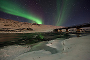 Aurora Borealis at Laxá in Kjós, south west Iceland. Laxá in Kjós is one of the best salmon rivers in Iceland