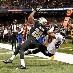 Nov 24, 2014; New Orleans, LA, USA; Baltimore Ravens wide receiver Steve Smith (89) catches a touchdown pass over New Orleans Saints defensive back Brian Dixon (20) during the first quarter of a game at the Mercedes-Benz Superdome. Mandatory Credit: Derick E. Hingle-USA TODAY Sports