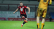 Shaun Beeley strikes during the Sky Bet League 2 match between Morecambe and Cambridge United at the Globe Arena, Morecambe, England on 24 November 2015. Photo by Pete Burns.