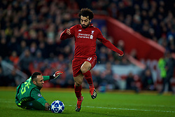 LIVERPOOL, ENGLAND - Tuesday, December 11, 2018: Liverpool's Mohamed Salah skips over Napoli's goalkeeper David Ospina during the UEFA Champions League Group C match between Liverpool FC and SSC Napoli at Anfield. (Pic by David Rawcliffe/Propaganda)