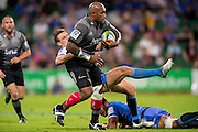 Nemani Nadolo of the BNZ Crusaders gets past Dane Haylett-Petty of the Western Force during the Canterbury Crusaders v the Western Force Super Rugby Match. Nib Stadium, Perth, Western Australia, 8th April 2016. Copyright Image: Daniel Carson / www.photosport.nz
