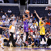 24 August 2014: Phoenix Mercury guard/forward DeWanna Bonner (24) takes a jump shot over Los Angeles Sparks forward/center Candace Parker (3) during the Phoenix Mercury 93-68 victory over the Los Angeles Sparks, in a Conference Semi-Finals at the Staples Center, Los Angeles, California, USA.